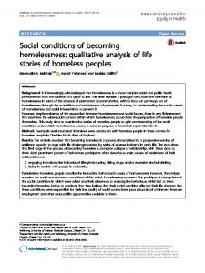 Social conditions of becoming homelessness - International Journal ...