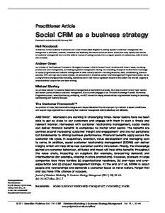 Social CRM as a business strategy - Springer Link