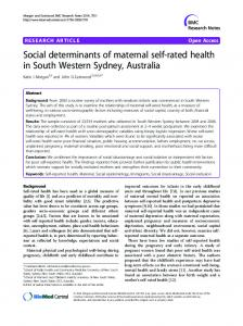 Social determinants of maternal self-rated health in ...