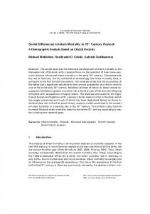 Social Differences in Infant Mortality in 19th Century Rostock