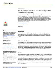 Social ecological factors and intimate partner violence in ... - PLOS