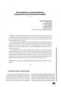 Social-Economic and Environmental Information - Theoretical and ...