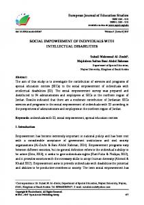 Social Empowerment of Individuals with Intellectual Disabilities.