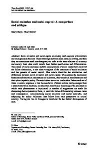 Social exclusion and social capital: A comparison and ... - Springer Link