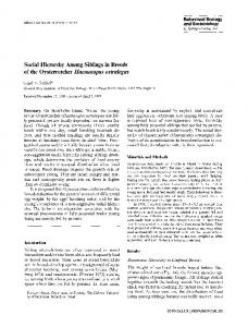 Social hierarchy among siblings in broods of the ... - Springer Link