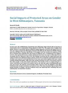 Social Impacts of Protected Areas on Gender in West Kilimanjaro ...