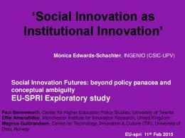 Social Innovation as Institutional Innovation - CSIC Digital