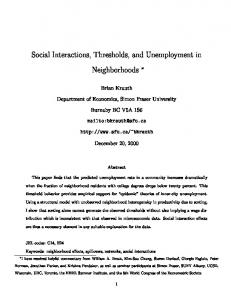 Social Interactions, Thresholds, and Unemployment in ... - Sfu