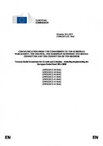 Social Investment for Growth and Cohesion - European Commission