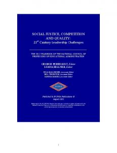 Social Justice, Competition and Quality - NCPEA Publications