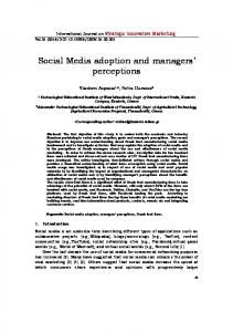 Social Media adoption and managers' perceptions