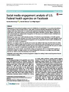 Social media engagement analysis of U.S. Federal health agencies on ...
