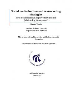 Social media for innovative marketing strategies