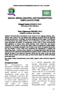 SOCIAL MEDIA: SHAPING AND TRANSMITTING POPULAR CULTURE