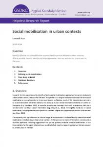 Social mobilisation in urban contexts - GSDRC