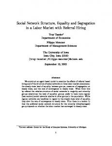 Social Network Structure, Equality and Segregation in a Labor Market ...