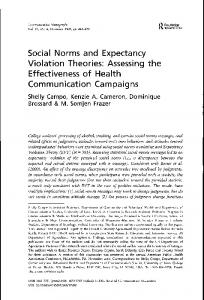 Social Norms and Expectancy Violation Theories - Communication ...