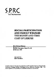Social Participation and Family Welfare - Social Policy Research Centre