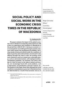 social policy and social work in the economic crisis times in the ...