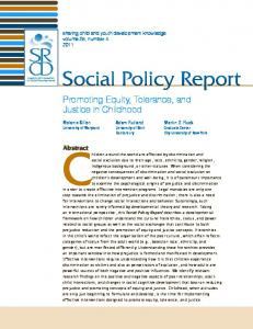 Social Policy Report, V25 #4. Promoting Euqity, Tolerance, and ... - Eric