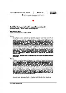 Social Psychology and health: assuming complexity