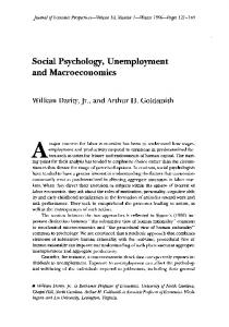 Social Psychology, Unemployment and Macroeconomics