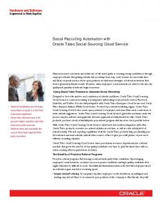 Social Recruiting Automation with Oracle Taleo Social Sourcing ...