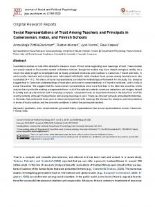 Social Representations of Trust Among Teachers and Principals in ...