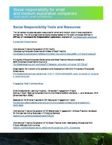 Social responsibility for small and medium exploration companies
