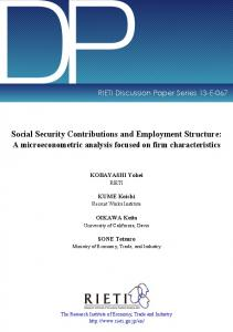 Social Security Contributions and Employment