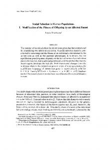 Social Selection in Human Populations. I. Modification ... - Europe PMC