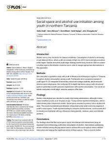 Social space and alcohol use initiation among youth in ... - PLOS
