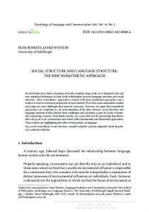 SOCIAL STRUCTURE AND LANGUAGE STRUCTURE: THE NEW ...