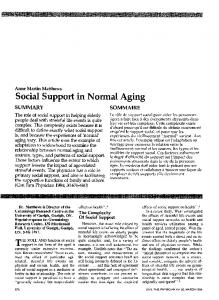 Social Support in Normal Aging - Europe PMC