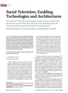 Social Television: Enabling Technologies and ... - IEEE Xplore