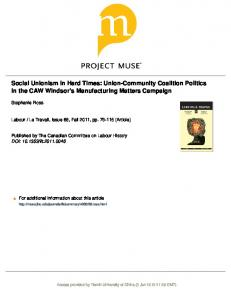 Social Unionism in Hard Times: Union-Community ...