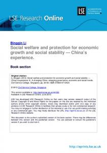 Social welfare and protection for economic growth and social stability ...