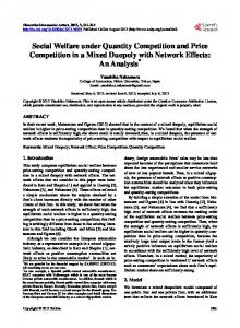 Social Welfare under Quantity Competition and Price Competition in a ...