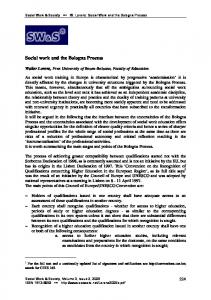 Social work and the Bologna Process - Social Work & Society