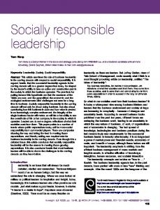 Socially responsible leadership