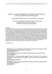 Society Aging ProblemS And their SolutionS in lAtviA, lithuAniA And ...