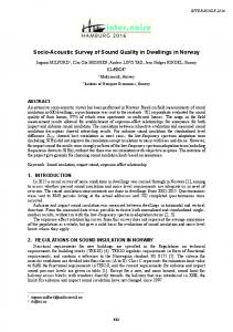 Socio-Acoustic Survey of Sound Quality in Dwellings in Norway