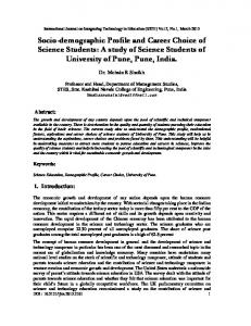 Socio-demographic Profile and Career Choice of Science Students: A ...