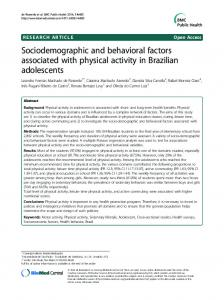 Sociodemographic and behavioral factors