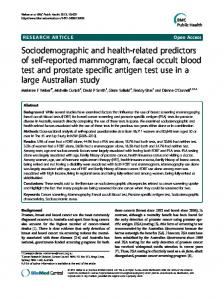 Sociodemographic and health-related predictors of self ... - Springer Link