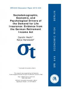 Sociodemographic, Economic, and Psychological Drivers of the