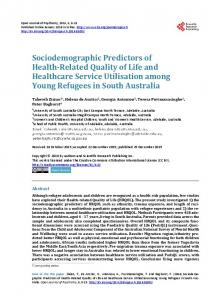 Sociodemographic Predictors of Health-Related Quality of Life and