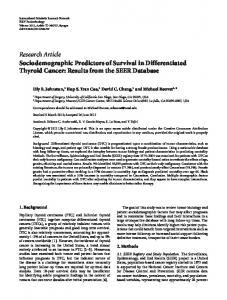 Sociodemographic Predictors of Survival in Differentiated Thyroid ...