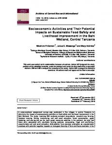 Socioeconomic Activities and Their Potential Impacts on Sustainable ...