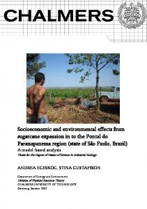 Socioeconomic and environmental effects from sugarcane expansion ...
